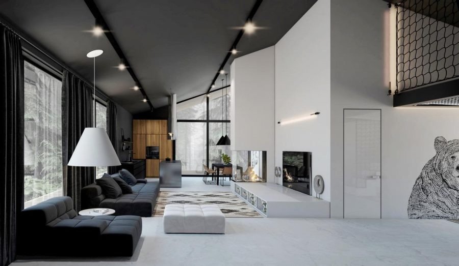 Hai màu đen, trắng được chia gần như làm đôi trong căn phòng khách hiện đại này