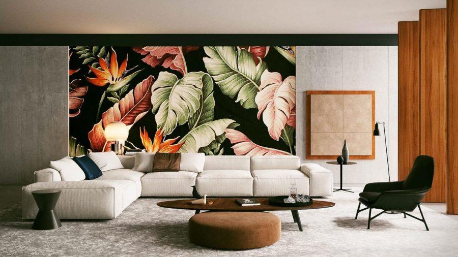 Không đâu xa, bức tranh nghệ thuật chính là tiêu điểm của phòng khách này