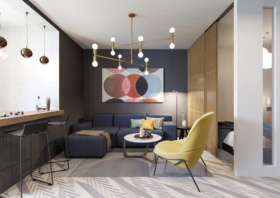 Phòng khách hiện đại đầy màu sắc