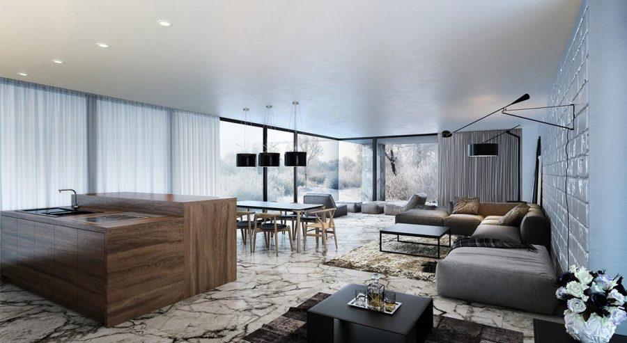 Không gian mở từ phòng khách và phòng bếp