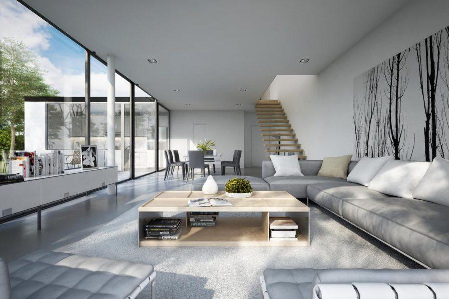 Phòng khách đơn giản với màu trắng đầy tinh tế