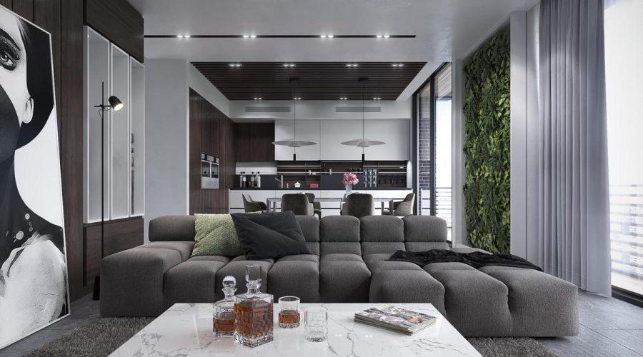 Phòng khách hiện đại đen trắng cao cấp
