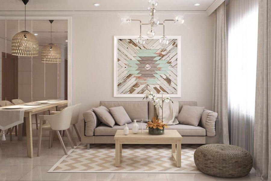 Phòng khách màu xám và trắng này với gam màu gỗ ở bao phủ khắp phòng