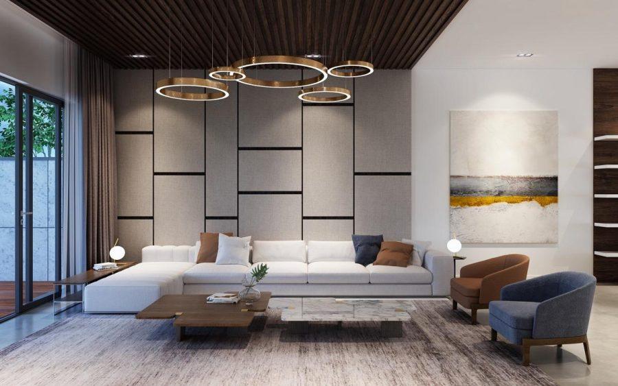 Phòng khách đầy tinh tế với bóng đèn nghệ thuật