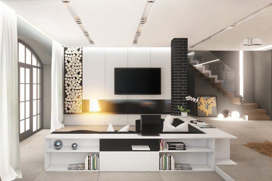 Thiết kế hiện đại này kết hợp màu đen và trắng với nhau trong một dãy tủ sách thấp
