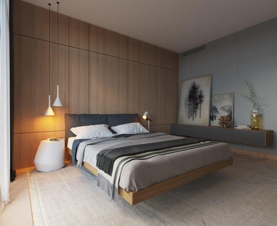 Phòng ngủ tối giản ốp gỗ ấm áp và thiết kế chân giường đầy độc đáo