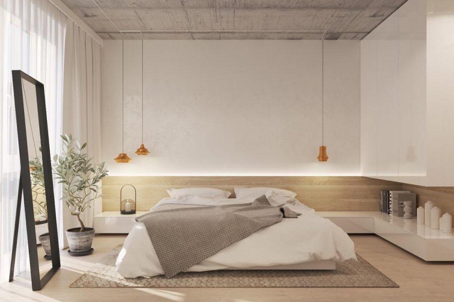 Phòng ngủ tối giản với điểm nhấn hai dây đèn ngay phía đầu giường
