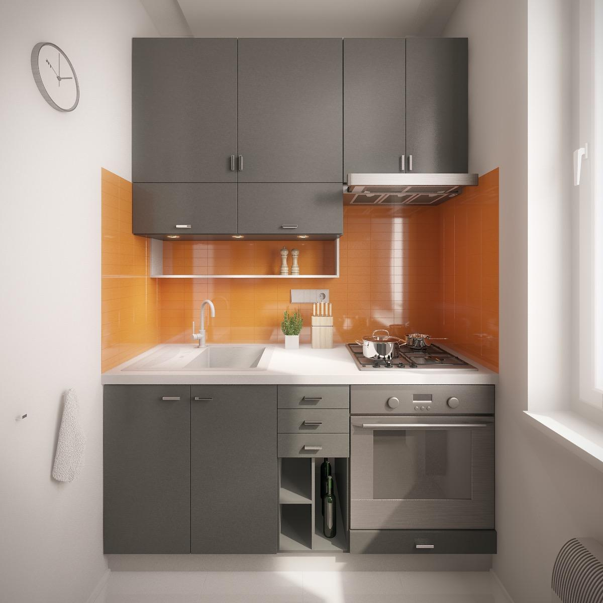 Thiết kế tủ bếp chữ i hiện đại với gam màu cam làm điểm nhấn cho phòng bếp
