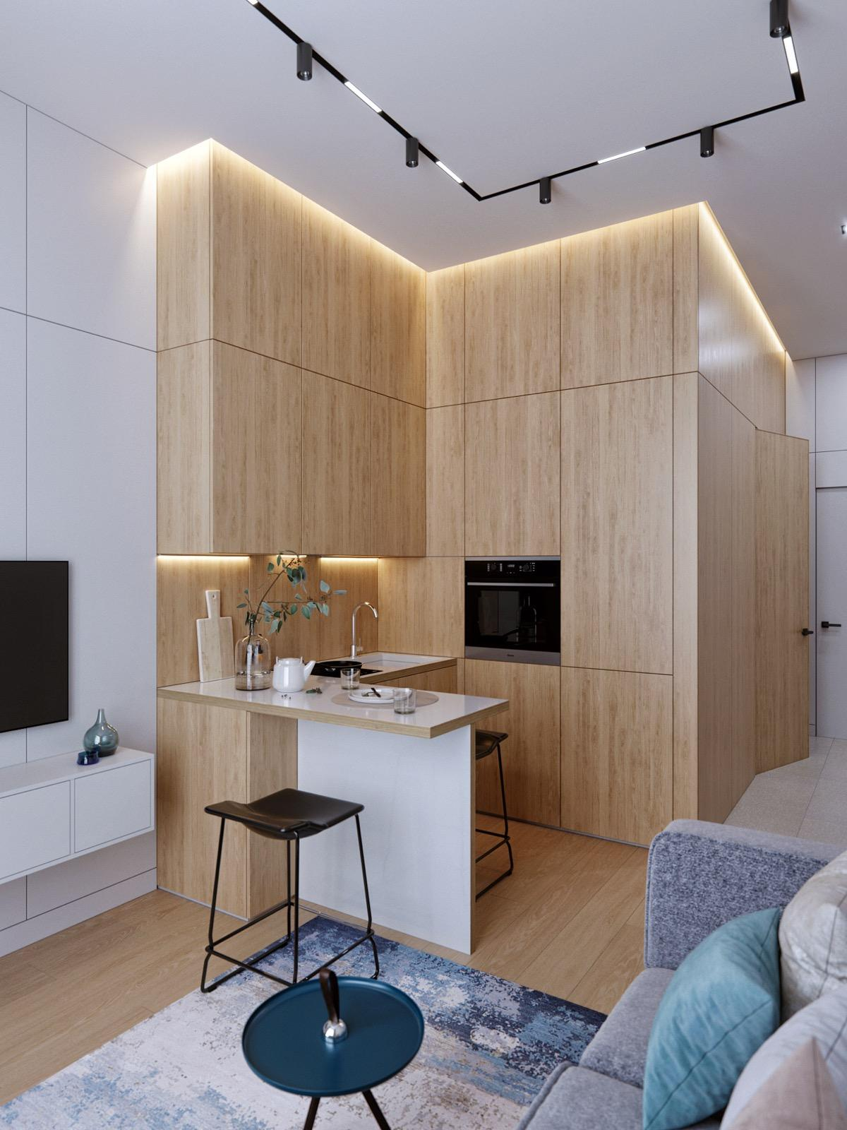 Tủ bếp hoàn toàn được làm bằng gỗ mang đến sự tự nhiên, mộc mạc nhưng không kém phần ấm áp