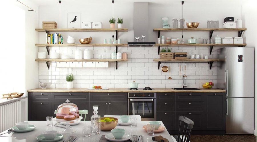 Tủ bếp treo tường là tủ được gắn phía trên quầy và không chạm đất