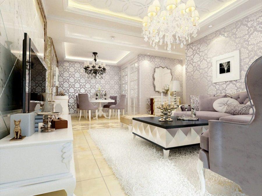 Phòng khách tinh tế và sang trọng với hệ thống đèn chùm sang trọng