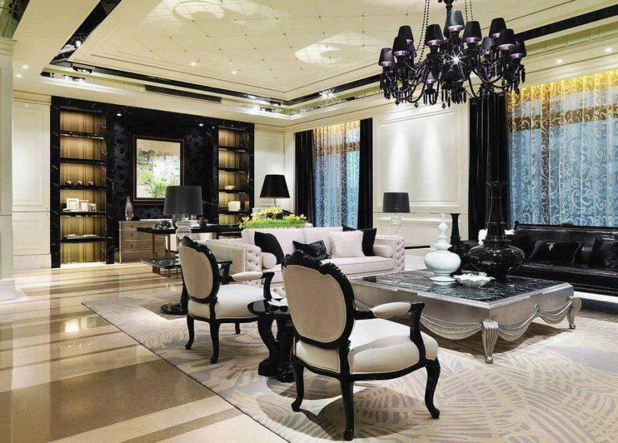 Màu đen trở thành điểm nhấn sang trọng và quý phái trong phòng khách