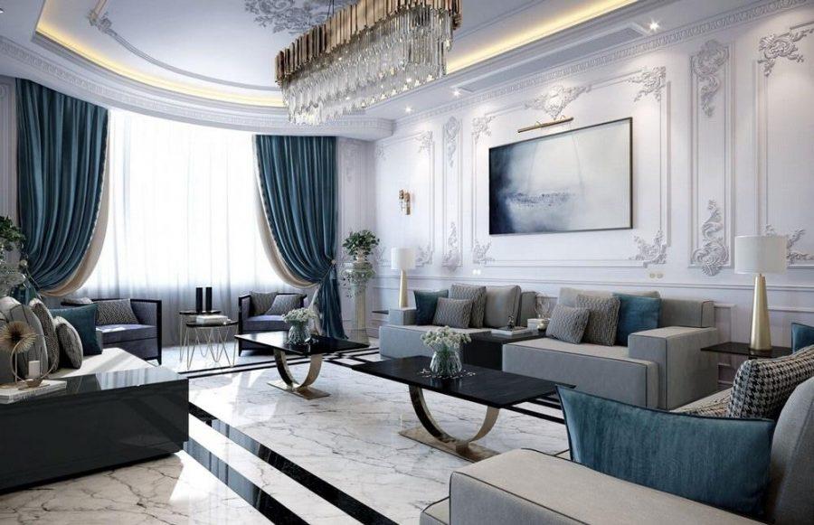 Sự hiện đại được tô điểm nổi bật trong phòng khách này