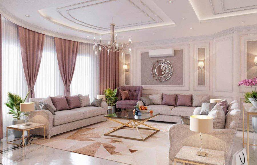Sự lãng mạn và nhẹ nhàng được thể hiện trong phòng khách