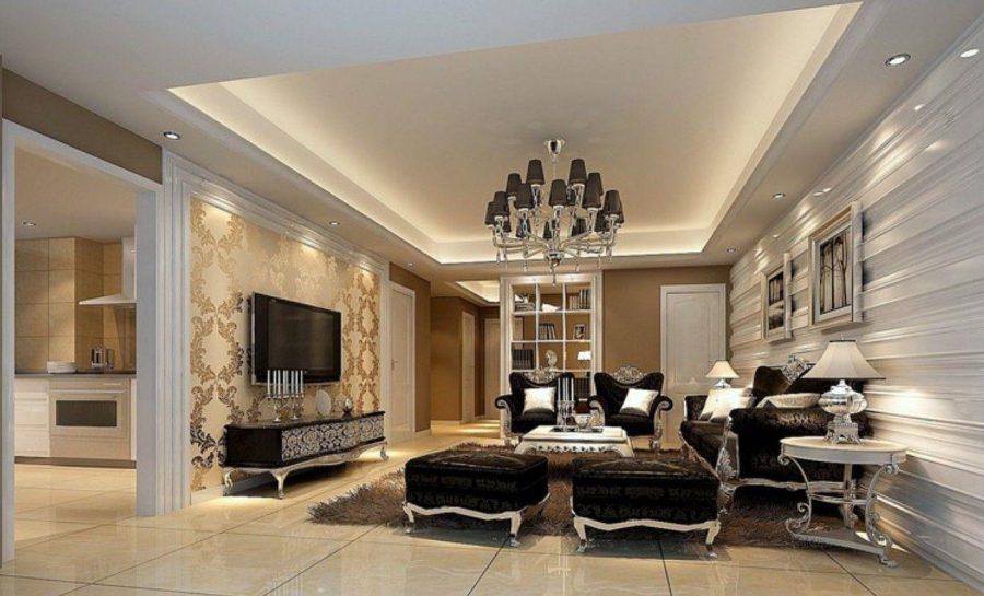 Phòng khách chung cư gây ấn tượng bởi kiến trúc tân cổ điển