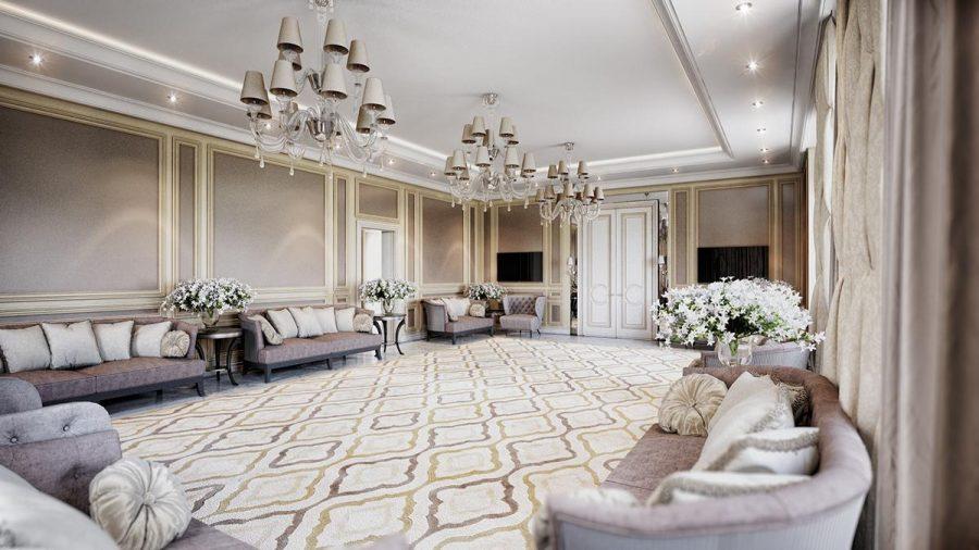 Không gian phòng khách rộng lớn và sang trọng