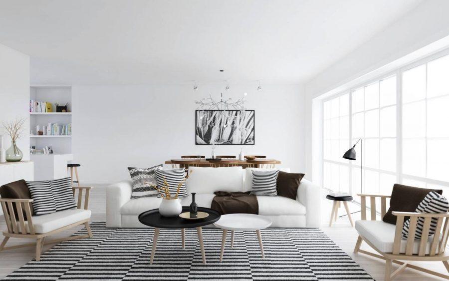 Các phòng màu đen và trắng có thể trông rất hợp thời trang