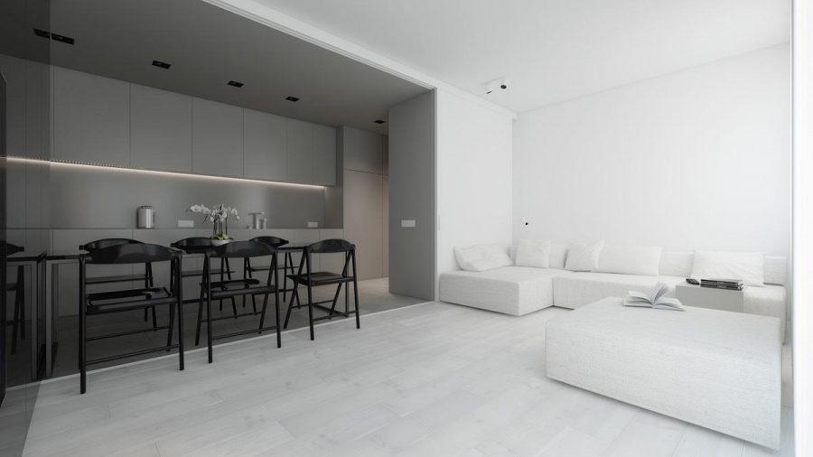 Sử dụng sàn màu xám nhạt để kết nối cả hai. Trong khi phòng khách vẫn giữ màu trắng, sáng và hình chữ nhật