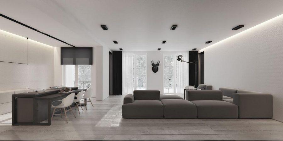 Không gian tối giản này kết hợp các màu trắng, đen, xám và taupe với nhau để có một cái nhìn cực kỳ hiện đại