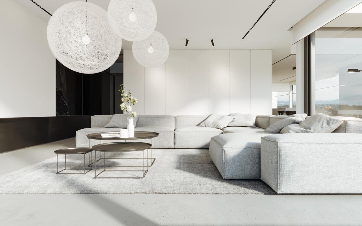 Các đường hình chữ nhật của ghế sofa, thảm và tủ của phòng chờ này kết hợp với ba hình cầu bàn cà phê lồng vào nhau và đèn lồng Trung Quốc
