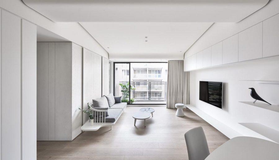 Màu sắc tối giản có thể tạo thêm ảo giác về không gian cho phòng khách