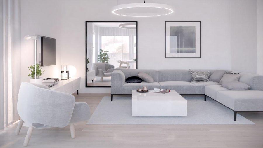 Phòng khách tối giản này với ghế sofa và tủ được nâng lên, đèn chùm vòng trắng và một tấm gương đối lập phản chiếu quang cảnh