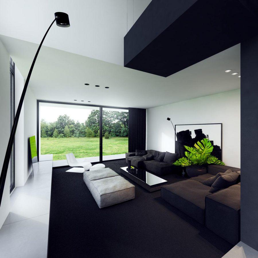 Kết hợp màu đen với trần, thảm và rèm cửa màu xanh nước biển, theo nội thất thú vị này