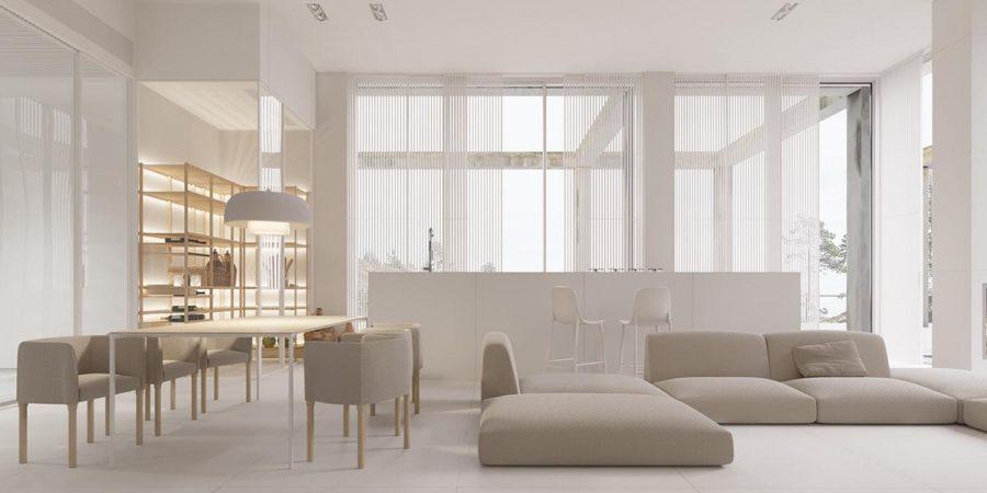 Ít hơn là nhiều hơn được chú trọng trong thiết kế phòng khách tối giản