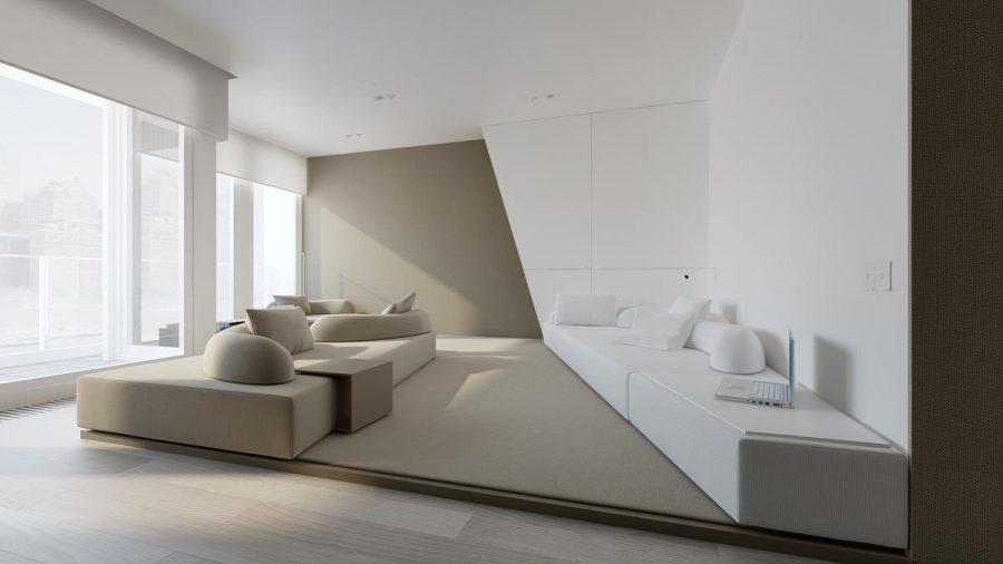 Đồ nội thất hình khối đơn giản và đệm hình dấu phẩy tạo nên màu sắc cho căn phòng