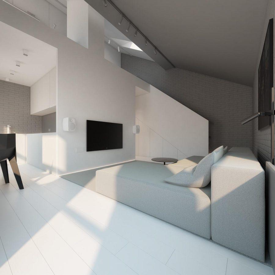 Các đường nét kiến trúc của nội thất màu đen, trắng và xám này đảm bảo mắt không bị phân tâm trong khi màu sắc vẫn đơn giản