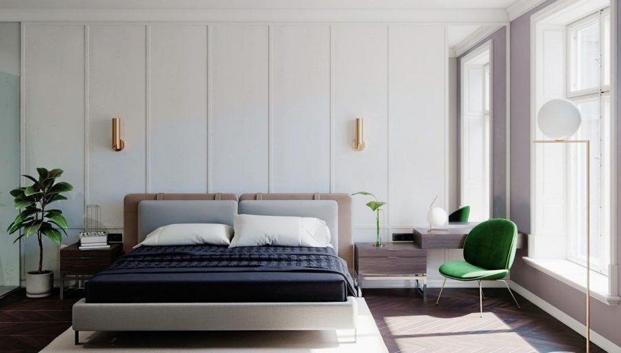 Làm ấm không gian phòng ngủ màu trắng đơn giản với đèn treo tường hiện đại bằng đồng sáng lấp lánh