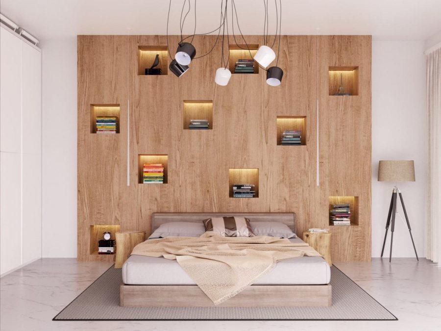 Bức tường lưu trữ đầu giường đầy độc đáo và tiết kiệm không gian