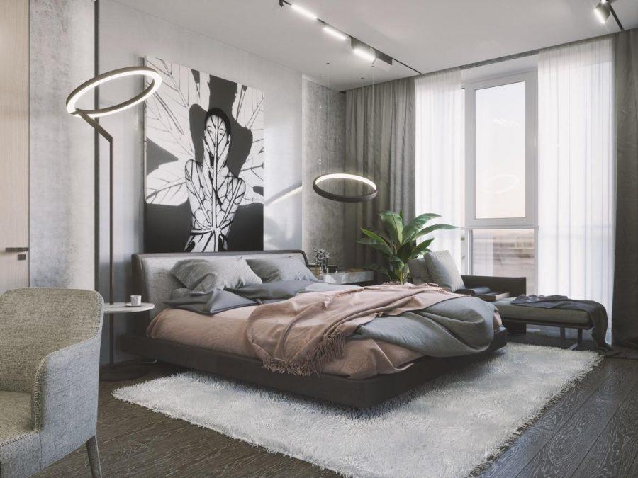 Ngay cả một chiếc giường màu trung tính cũng có thể trông thú vị nếu bạn kết hợp và kết hợp hai màu sắc khác nhau