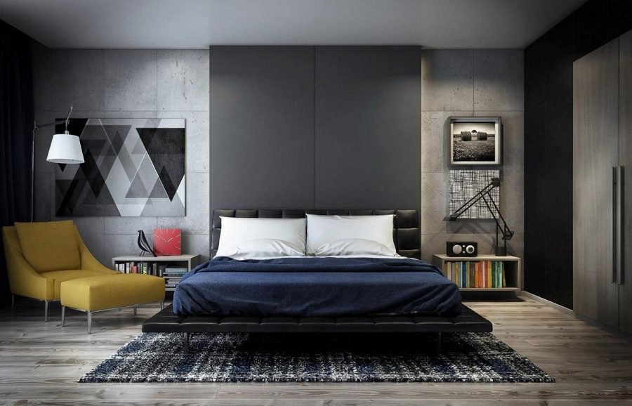Một phòng ngủ màu xám với nhiều màu sắc nhấn nhá khác nhau
