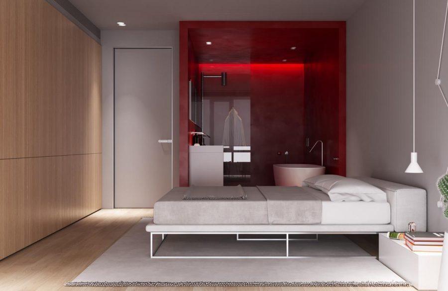 Không gian mở từ giường ngủ đến phòng tắm