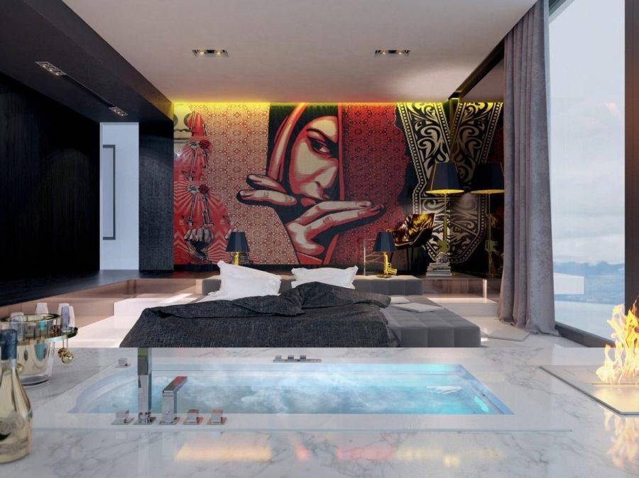 Thiết kế giường tầng chìm và bồn tắm chìm này tạo nên một sự kết hợp tuyệt vời