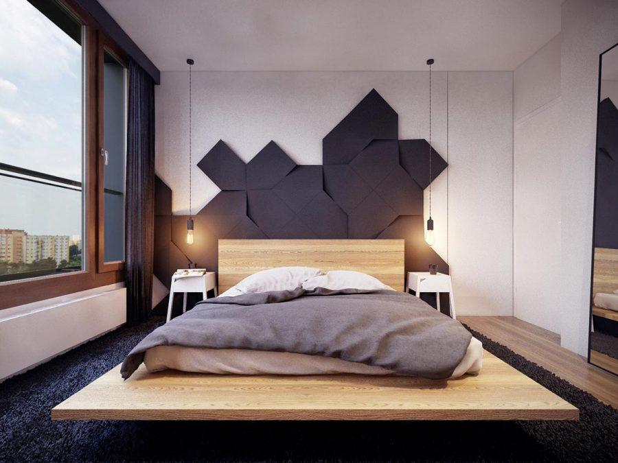Một thiết kế tường ba chiều tạo nên sự tương phản tuyệt vời với giường nền tối giản