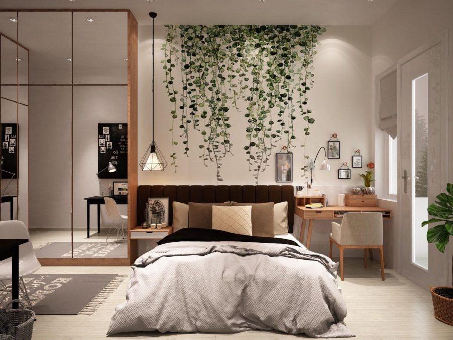 Kết hợp chủ đề thực vật với đèn dây hình học sắc nét độc đáo