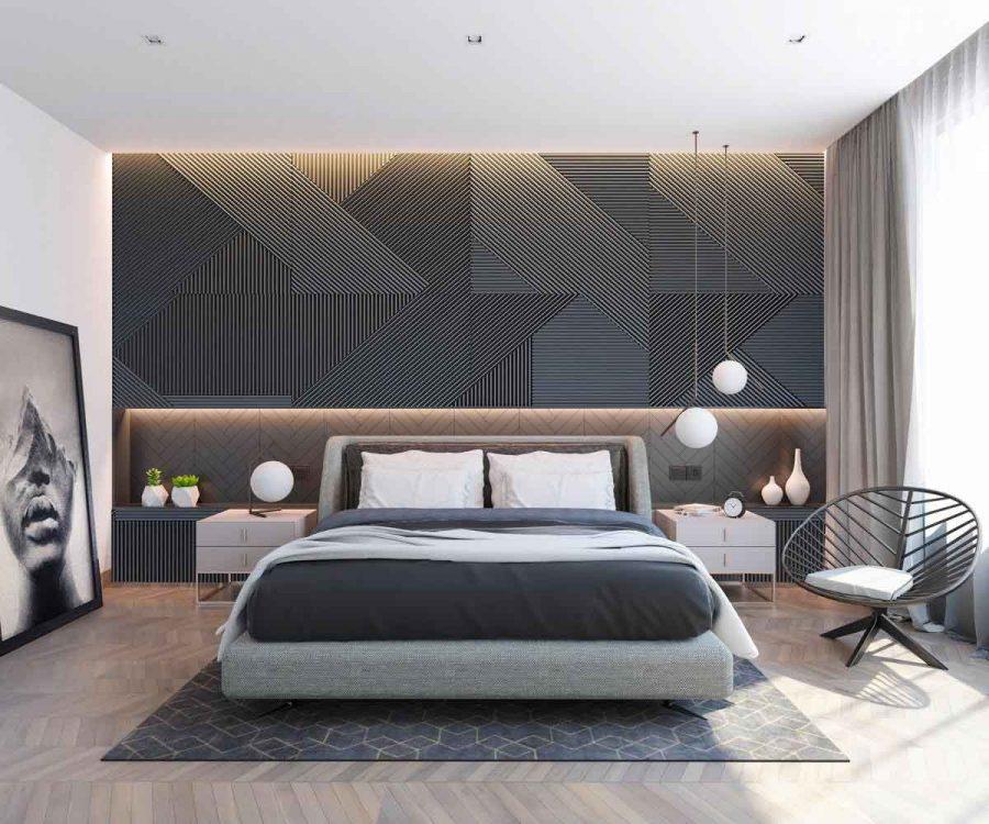 Một ví dụ hoàn hảo về bức tường ấn tượng trong phòng ngủ