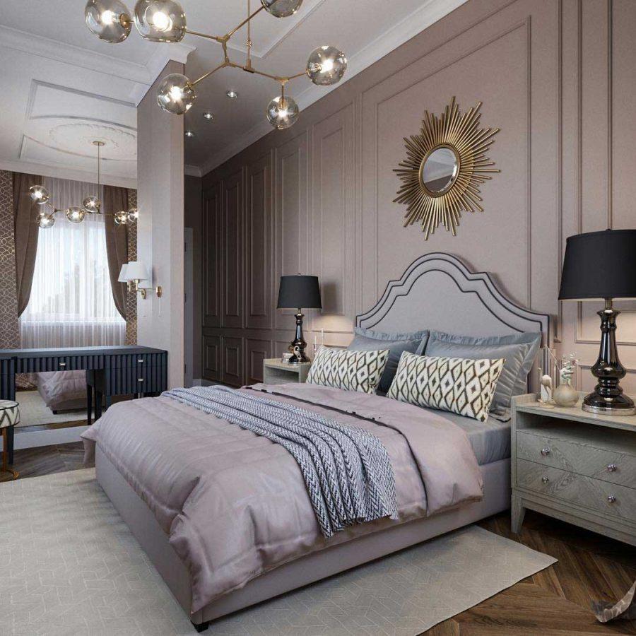 Gương trang trí treo tường chính giữa căn phòng giúp phòng ngủ tăng thêm điểm nhấn