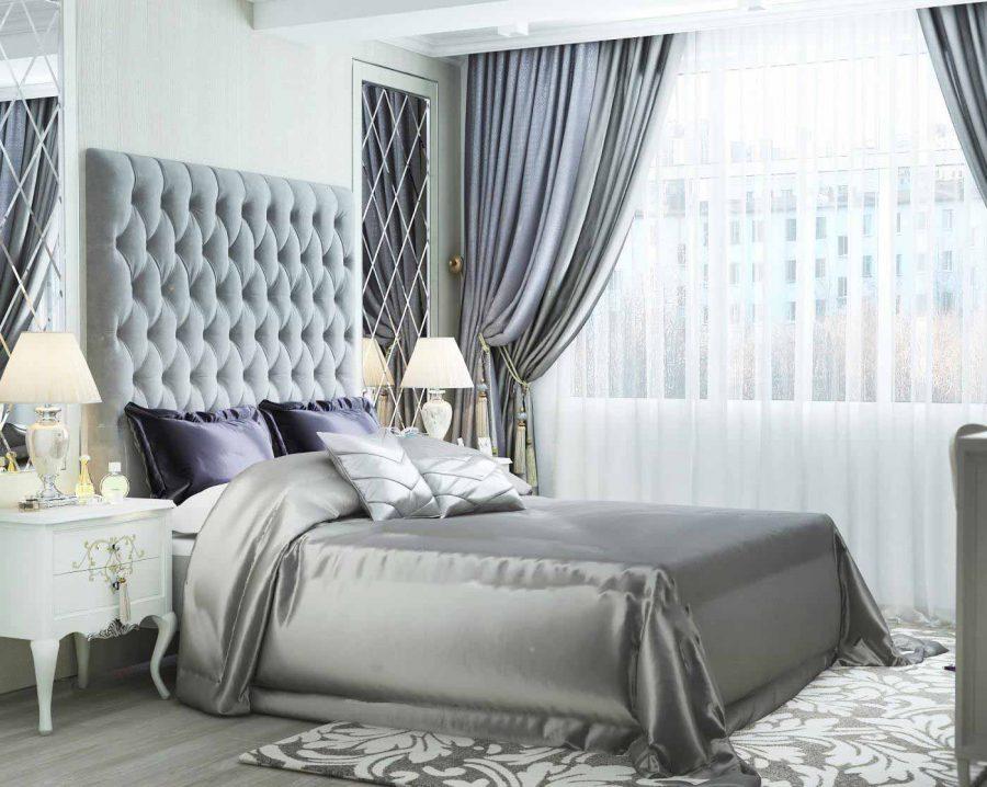 Thành giường bọc nhung là một trong những kiểu thường thấy của phong cách này