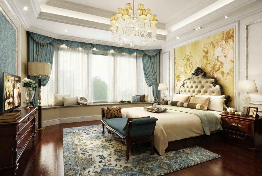 Màu xanh của rèm cửa, ghế ngồi, tường nhà và thảm trải sàn giúp căn phòng trở nên có điểm nhấn