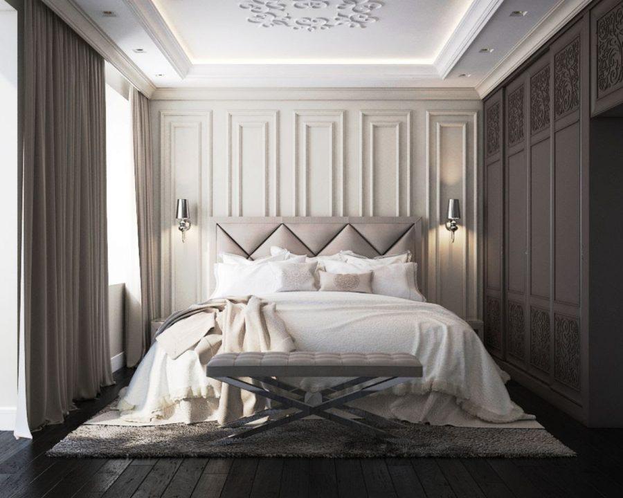 Phòng ngủ thiết kế khá đơn giản với rèm cửa dày và trải dài từ trần nhà xuống sàn