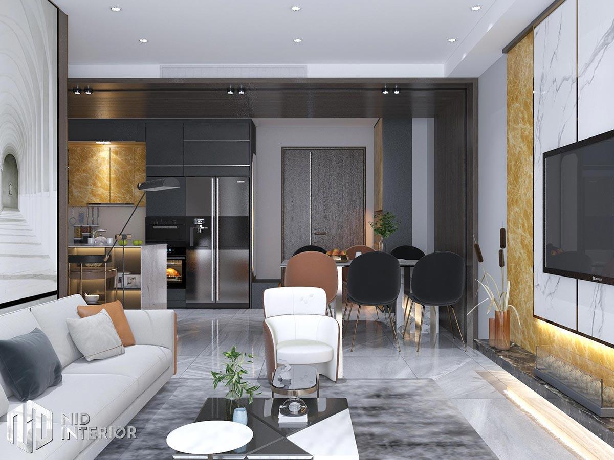Thiết kế nội thất căn hộ The Grande Midtown - Phòng khách