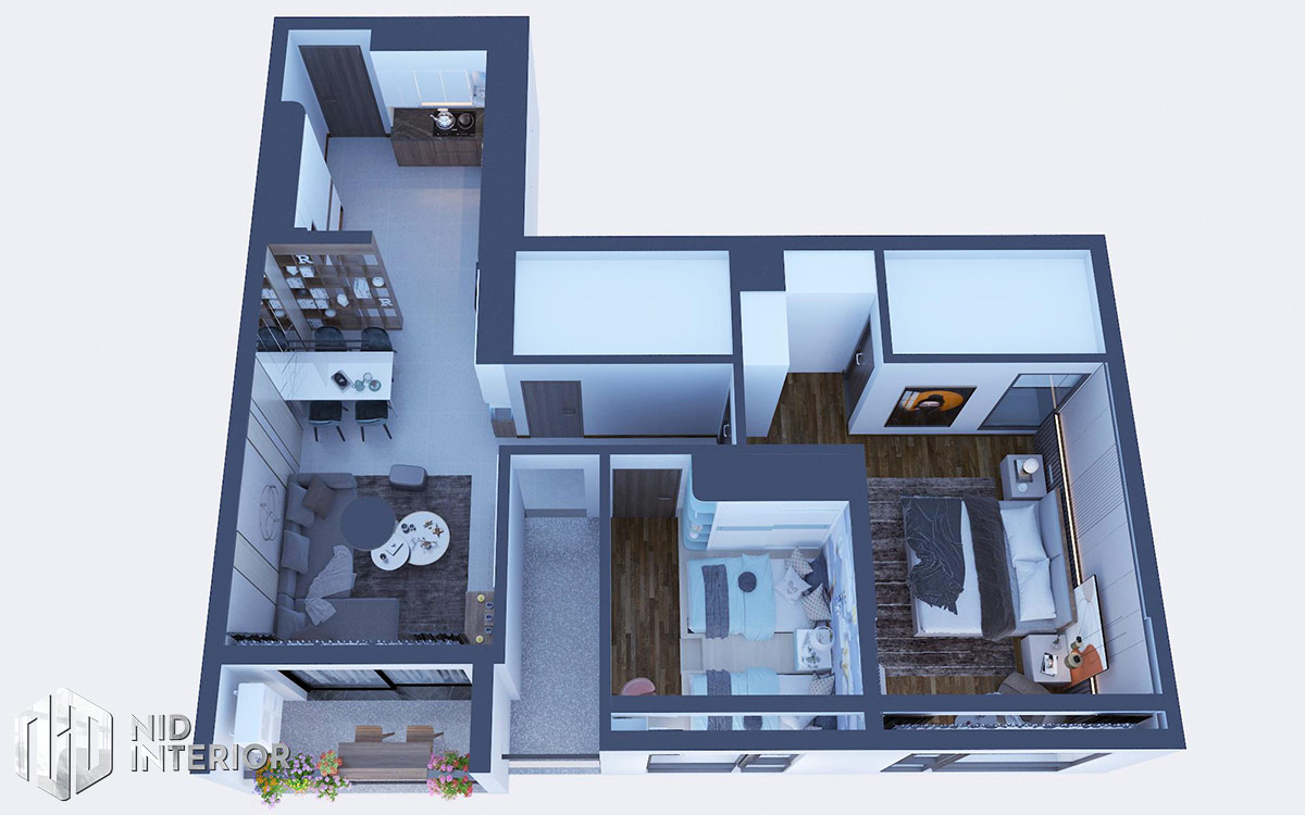 Thiết kế nội thất căn hộ Opal Saigon Pearl - Mặt bằng