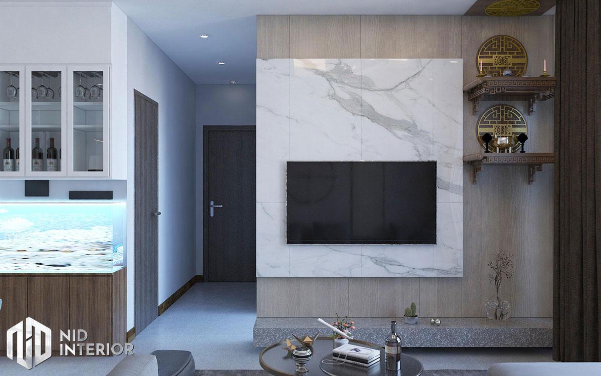 Thiết kế nội thất căn hộ Opal Saigon Pearl - Kệ tivi