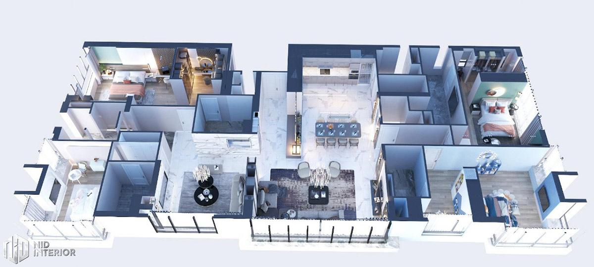 Thiết kế nội thất căn hộ Sunrise City South Towers - Mặt bằng