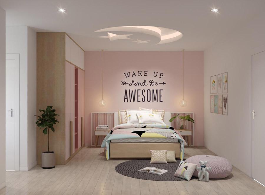 Gam màu hồng tươi sáng được rất nhiều bé yêu thích trong thiết phòng ngủ cho bé gái
