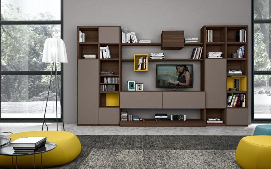 Mẫu tủ trang trí phòng khách hiện đại, trẻ trung kết hợp thành kệ để tivi vô cùng độc đáo
