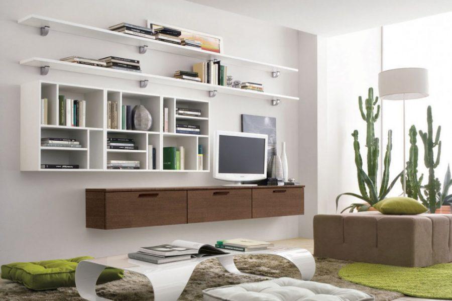 Mẫu tủ trang trí phòng khách hiện đại thiết kế treo tường phù hợp với thiết kế phòng khách nhỏ hẹp, giúp tiết kiệm diện tích không gian